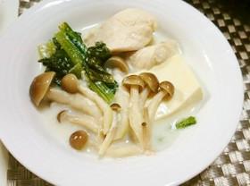 ささみと小松菜のミルク鍋
