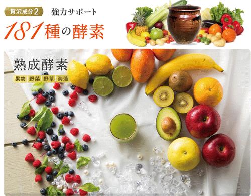 めっちゃぜいたくフルーツ青汁に含まれる酵素